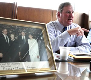 Orland Park Police Chief Tim McCarthy revisits the attempted assassination of President Ronald Reagan on its 30th anniversary during an interview at his office at Orland Park Police Headquarters in Orland Park, Ill., March 29, 2011. (Joseph P. Meier/Chicago Sun-Times via AP)
