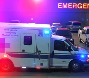 The EMS service has eight ambulances, one of which is out of service while the original chassis is remounted with a new ambulance box, and two that are reserve vehicles. (Photo/ Reno County EMS)