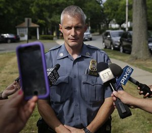 Sgt. Daniel Wilson speaks to reporters about the search for Chelsea O'Donnell in Nyack, N.Y., Tuesday, Aug. 18, 2015.