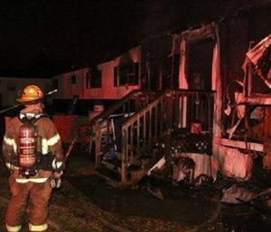 An overnight trailer fire sent all five family members to the hospital. (Photo/Virginia Beach Fire Dept.)