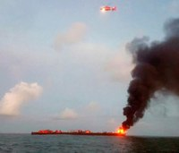 1 dead, 1 missing after fuel barge fire off Texas coast