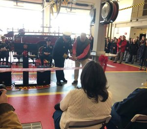 The Harwich Fire Department and Harwich Chamber of Commerce held a ribbon-cutting ceremony for the village's new fire station last weekend. Firefighters are expected to begin working from the station in about three weeks when construction is fully completed. (Photo/Harwich Chamber of Commerce Facebook)