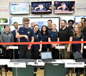 Vinal Technical High School held a ribbon-cutting ceremony Monday as it unveiled its new emergency operations center, which will give students hands-on training assisting first responder communications. (Photo/Connecticut Technical Education and Career System Facebook)