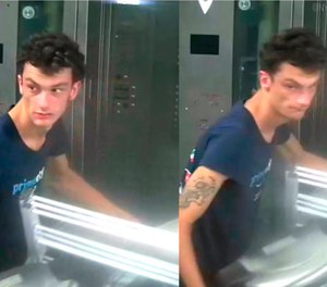This photo released by NYPD shows a person of interest wanted for questioning in regard to the suspicious items placed inside the Fulton Street subway station in Lower Manhattan on Friday, Aug. 16, 2019 in New York. (NYPD via AP)