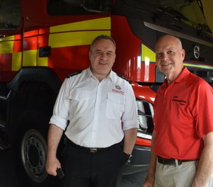 During my visit, NIFRS District Commander John Bacon (left) showed me their regular fire appliances (apparatus) and specialty units.