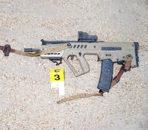 This photo shows the rifle Gavin Long used in the ambush attack. (Photo/East Baton Rouge Parish District Attorney)