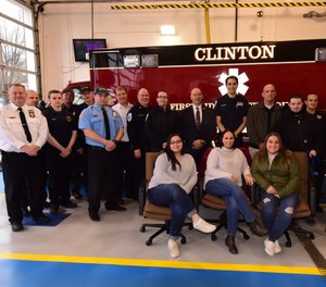 Nine days after suffering a massive heart attack while driving, a 39-year-old woman reunited with the first responders who saved her life. (Photo/Clinton EMS)