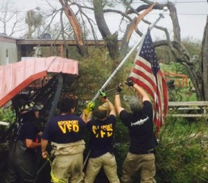 First responders – police, fire and EMS – have banded together from all over the U.S. to help save those affected by the powerful storm. (Photo/State Firefighters' and Fire Marshals' Association of Texas)