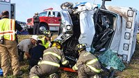 2 medics in stable condition after ambulance rollover