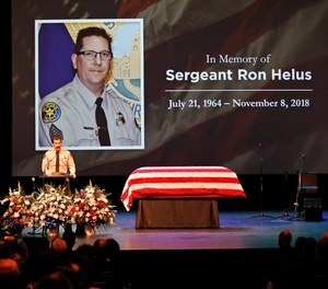 Ventura County Sheriff Biull Ayub addressing the crowd attending the memorial service for Ventura County Sheriff Sgt. Ron Helus at Calvary Community Church in Westlake Village, Calif., Thursday, Nov. 15, 2018. Sgt. Helus was one of twelve victims of the Borderline Bar & Grill mass shooting in Thousand Oaks last week.