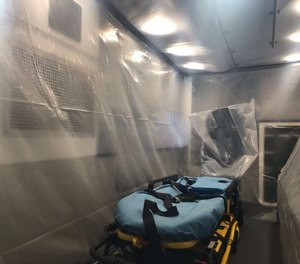 This photograph shared by the San Antonio Fire Department shows the inside of a dedicated ambulance used to transport patients suspected of novel coronavirus (COVID-19) infection. San Antonio confirmed the United States' 15th case of COVID-19 on Thursday.