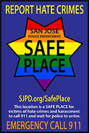 Businesses placing SJPD SAFE PLACE decals at their entrance.