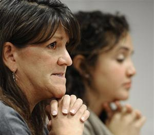 Jennifer Hensel, left, mother of Sandy Hook Elementary school shooting victim Avielle Richman, and Nelba Marquez-Greene, mother of victim Ana Marquez-Greene make a presentation to the Sandy Hook Advisory Commission, Friday, Nov. 14, 2014, in Newtown, Conn.