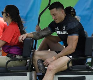 New Zealand's Sonny Bill Williams, is driven out of the stadium by medics during the men's rugby sevens match against Japan at the Summer Olympics in Rio de Janeiro, Brazil, Tuesday, Aug. 9, 2016. (AP Photo/Themba Hadebe)