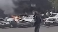Seattle Police release video of man setting occupied patrol car on fire