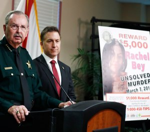 Palm Beach County Sheriff Ric Bradshaw speaks during a news conference on Monday, Sept. 16, 2019, in West Palm Beach, Fla. (AP Photo/Brynn Anderson)