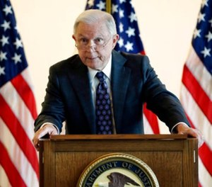 Attorney General Jeff Sessions speaks to law enforcement officials about transnational organized crime and gang violence at the Federal Courthouse Thursday, Sept. 21, 2017, in Boston.