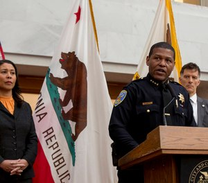 Police Chief Bill Scott speaks at a news conference where Mayor London Breed announced a public health order that requires residents to stay at home except for essential needs on Monday, March 15, 2020. (Photo/TNS)