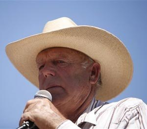 In this April 24, 2014, file photo, rancher Cliven Bundy speaks at a news conference near Bunkerville, Nev. (AP Image)