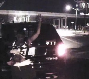 Dashcam footage shows Officer Mara Wilson searching Natalie Simm's pants after Simms allegedly consented to a search of her car. (Photo/San Antonio Police)