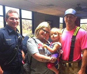 A mother expressed her gratitude to firefighters for calming her autistic daughter by singing