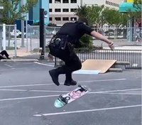 Video: Va. officer's on-duty skateboard skills go viral
