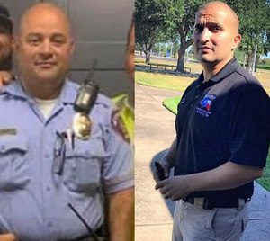 McAllen police officers Edelmiro Garza Jr. (left) and Ismael Chavez Jr. were killed in a shootout with a suspect July 11, 2020.