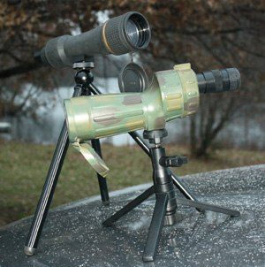 Upper scope is a Leupold 25x 50mm model with dedicated tripod. Lower scope is a Bushnell Stalker 10-30x 50mm model on a Canon table tripod. (Photo courtesy Richard Fairburn)