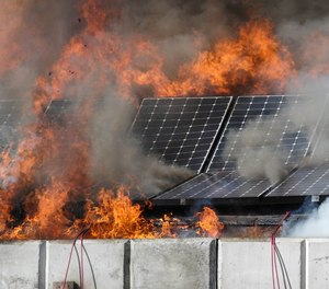 Roof and modules collapsing during UL FSRI testing.