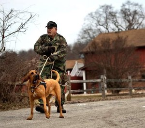 K-9 Sophy, a member of the Greensburg Bloodhound Team in Pennsylvania, provides tracking services in 2015.