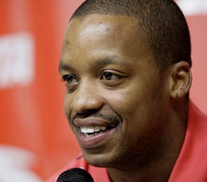 In this Oct. 17, 2007, file photo, Houston Rockets' Steve Francis smiles during a news conference announcing an endorsement deal with ANTA Sports Products Limited, a company based in China, in Houston.