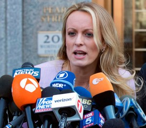 In this April 16, 2018, file photo, adult film actress Stormy Daniels speaks outside federal court in New York. (AP Photo/Mary Altaffer, File)