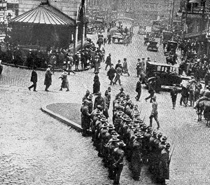 A company of Massachusetts Militia await assignment to police duty during the Boston police strike in 1919. (Photo/Public Domain)