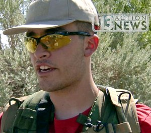 Conor Climo, shown in this Sept. 22, 2016 file photo from video from KTNV 13 Action News, has been indicted on a federal firearm charge. (KTNV 13 Action News via AP, File)