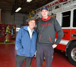 Tullahoma Firefighter Brandon Berridge, who stands at 7 feet tall, may be the world's tallest firefighter. (Photo/City of Tullahoma, TN - Government Facebook)