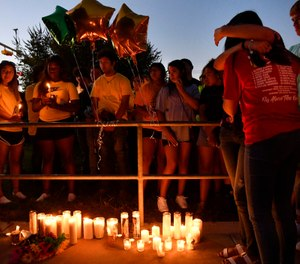 Odessa High School students and families remember their 15 year-old classmate Leilah Hernandez Monday Sept. 2, 2019 in Odessa, Texas. (Ronald W. Erdrich/The Abilene Reporter-News via AP)