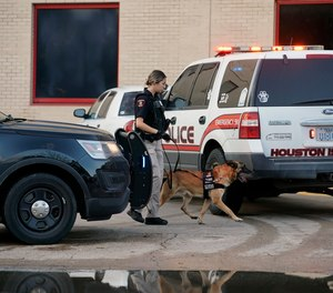 A Houston Independent School District Police K-9 unit responds to a shooting at Bellaire High School in Bellaire, Texas.