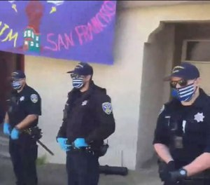 San Francisco police Chief Bill Scott has banned face masks adorned with the