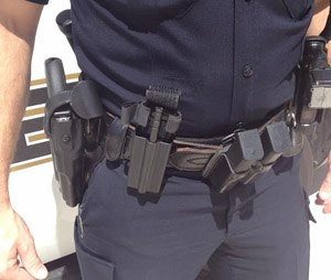 The S4 Solutions TQ911 tourniquet holster on a duty belt