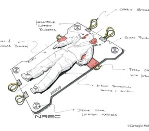 This artistic rendering shows what TRAuma Care In a Rucksack: TRACIR, an autonomous trauma care system being created by the University of Pittsburgh and Carnegie Mellon University, could look like.  (Photo/National Robotics Engineering Center and Carnegie Mellon University)