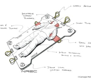 This artistic rendering shows what TRAuma Care In a Rucksack: TRACIR, an autonomous trauma care system being created by the University of Pittsburgh and Carnegie Mellon University, could look like.