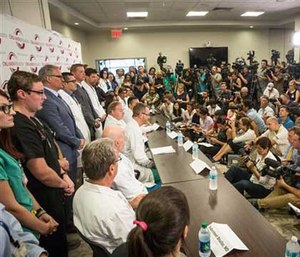 Nine surgeons and one survivor spoke to the media regarding the aftermath of the mass shooting.