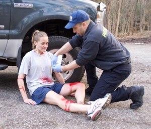 Applying a triage tag.