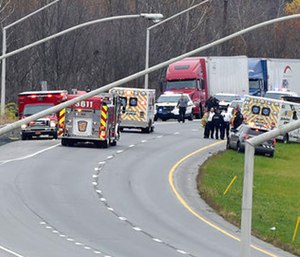Emergency personal respond to a Pennsylvania State Police corporal being shot during a traffic stop.