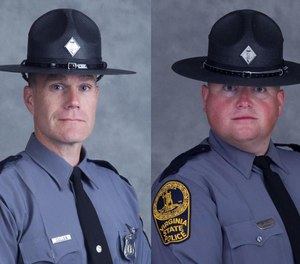 These undated file photo provided by the Virginia State Police show Trooper-Pilot Berke M.M. Bates and Lt. H. Jay Cullen. (Photo/Virginia State Police)