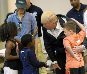 The trip, to Houston and Lake Charles, Louisiana, was Trump's second to survey Harvey's wake. (Photo/AP)