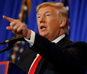President-elect Donald Trump speaks during a news conference in the lobby of Trump Tower in New York.