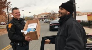 Bridgeport officers pulled over a driver to give him a Thanksgiving turkey.