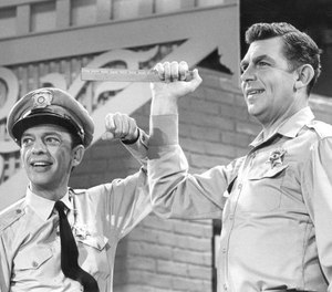 Publicity photo of Andy Griffith and Don Knotts from a Jim Nabors television special.