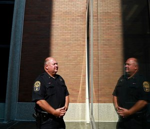 Lt. Robin Archer is photographed outside of the Portsmouth City Jail.